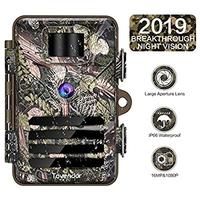 Tovendor Hunting Trail Camera, 16MP Motion Activated Game Camera Outdoor Wildlife Monitor IP66 Waterproof, No Glow Infrared Night Vision