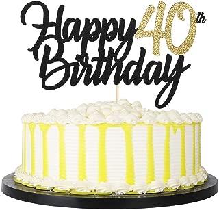 PALASASA Black Gold Glitter Happy Birthday cake topper - 40 Anniversary/Birthday Cake Topper Party Decoration (40th)