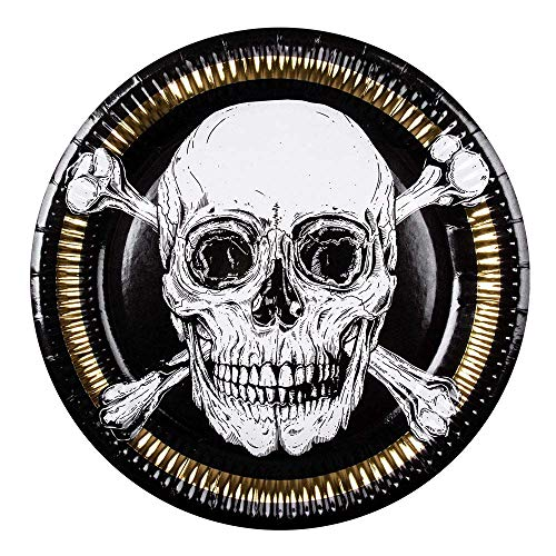 Boland 6 Assiettes en Carton Pirate Jolly Roger 23 cm