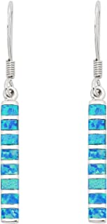 Sterling Silver Created Blue Opal Vertical Bar Dangle Earrings