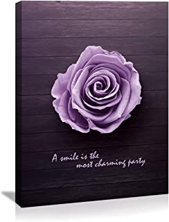 Purple Rose flowers wall art decor canvas Prints Pictures Modern Stylish Artwork 1 Panels Wooden canvas art Framed Poster paintng for bathroom living room Bedroom Kitchen home wall decor Ready to Hang