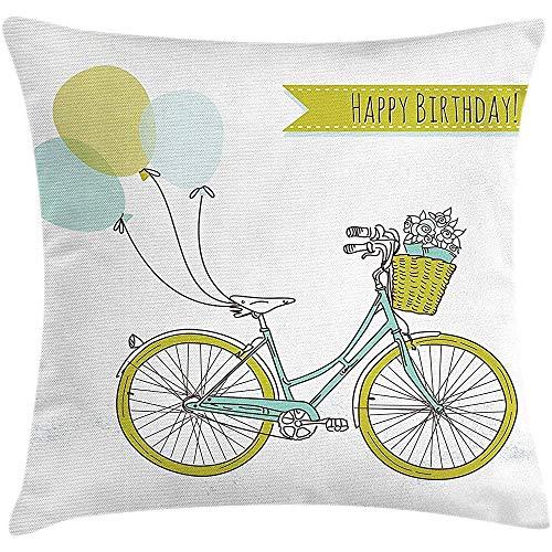 sherry-shop Geburtstagskissen Kissenbezug, Hand gezeichnetes Fahrrad mit Luftballons und Blumen Romantischer Geburtstag, Hellblau und Apfelgrün 20X20In