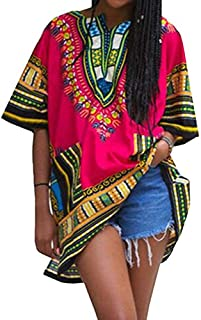 Unisex Fashion Women's Vintage Loose Short Sleeve Dashiki African Dresses Shirt