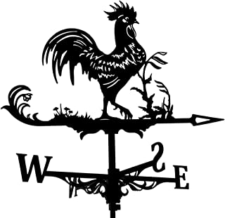 Perfk Farm Stainless Steel Home Weather Vane Wind Direction Indicator, Yard Measuring Tools - Rooster