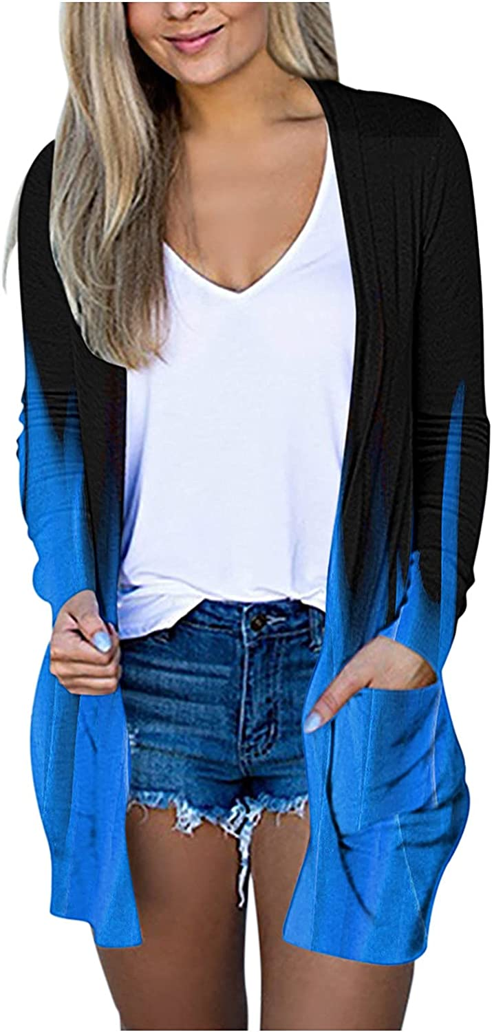Women's Open Front Cardigans Oversized Long Sleeve Chunky Knit Sweater Draped Outwear Coat with Pockets