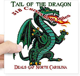 CafePress Flaming Dragon Tail of The Square Sticker 3 X 3 Square Bumper Sticker Car Decal, 3