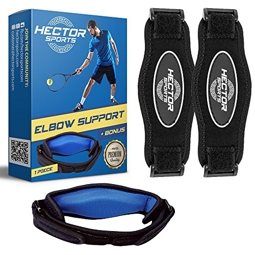 HECTOR SPORTS Premium Tennis Elbow Brace for Tendonitis Golf Elbow Strap for Men and Women - Arm Band for Tennis Elbow Pain Relief Golfers Elbow Brace Forearm Brace with Compression Pad (2boxblue)
