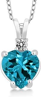 Gem Stone King 2.17 Ct Heart Shape London Blue Topaz White Diamond 925 Sterling Silver Pendant