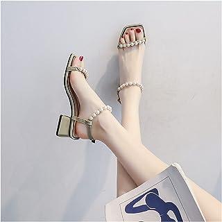 YZZ All-match Fashion Fairy Style avec jupe, talons hauts, sandales à talons épais pour femme (couleur : Vert, Pointure : 34)