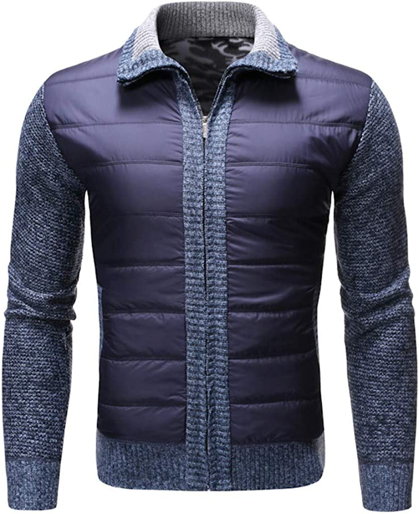 MODOQO Mens Zipper Cardigan Sweaters Long Sleeve Stand Collar Warm Breathable Knitwear for Autumn Winter