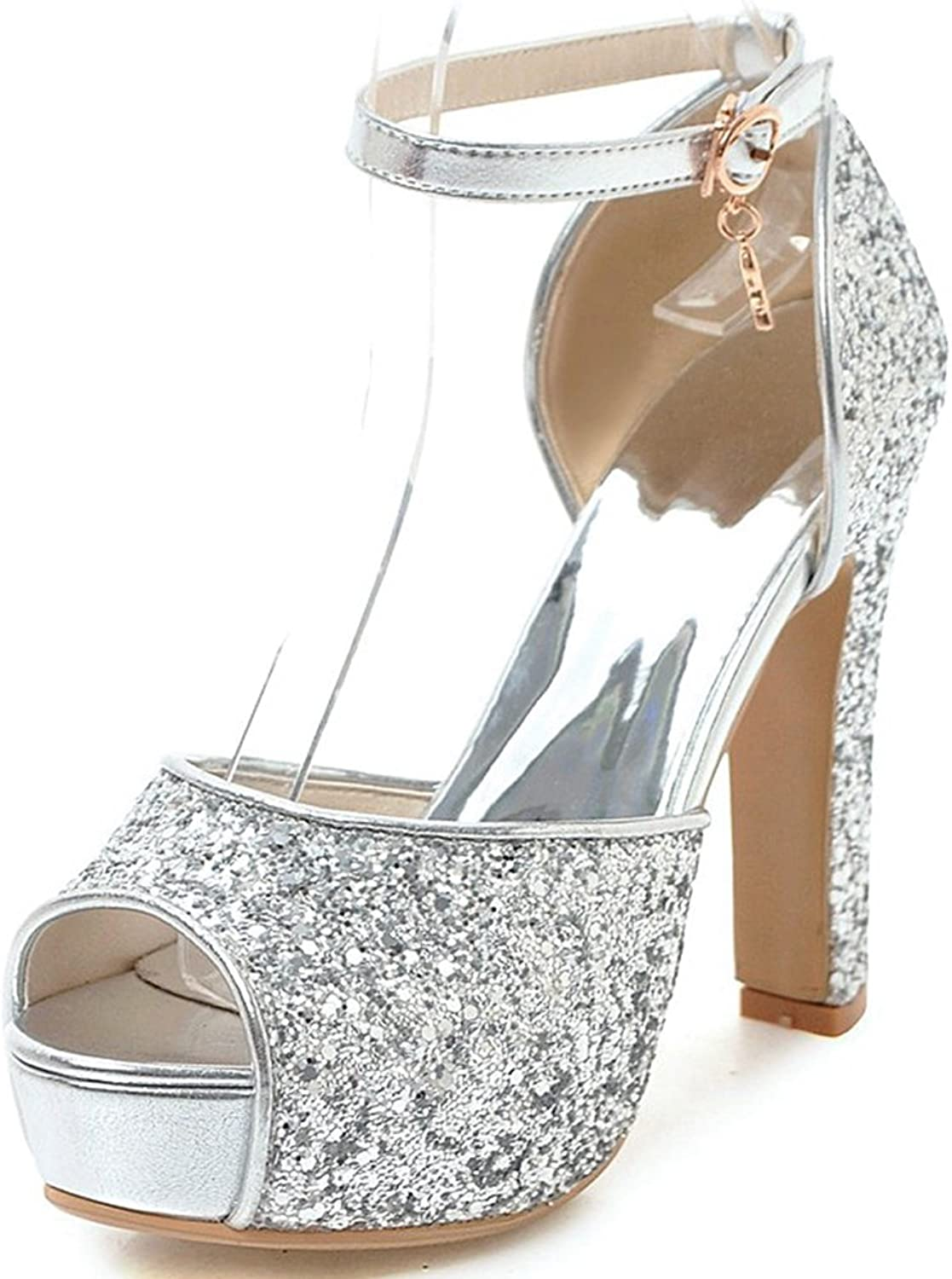 SaraIris Women's Open Toe Summer shoes Chunky High Heel Glitter Ankle Strap D-Orsay Party Dress Sandals