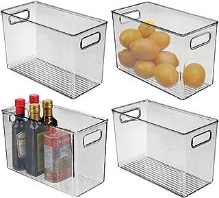 mDesign boite alimentaire pour la cuisine (lot de 4) – boite rangement frigo en plastique – boite plastique alimentaire po...