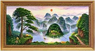 XG Inc Large-Size Rising Sun Dongsheng Feng Shui Painting, Green Plant Landscape Office Home Decoration attracts Wealth and Good Luck (with Frame),C,60X130CM