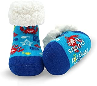 Pudus Cozy Kids & Toddler Slipper Socks with Non-Slip Grippers & Warm Fleece Lining