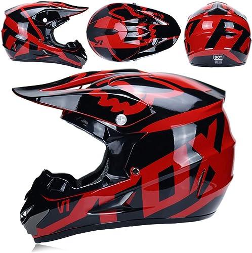 MJW Moto Hors-Route Casque, Moto de Montagne Hors-Route Lunettes de Distribution Casque de sécurité Masque Gants