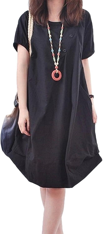 Women's Tunic Cotton Linen Dress Casual Maxi Knee Length Loose Skirt