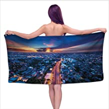 Bensonsve Bath Towels Large Urban,Bangkok Skyline at Sunset Evening Thailand Cityscape Metropolis Architectural Photo,Blue Coral,W31 xL63 for Toddlers