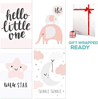 Baby Poster - Nursery Wall Decor Art Set of Four Posters. Inspirational and Relaxing Elephants & Star Room Decor for Infants. Adorable Pictures Decorations Decal ! Great
