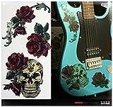 Inlaystickers - Pegatinas para guitarra y bajo, diseño de calavera gótica y rosas LG-004-GS