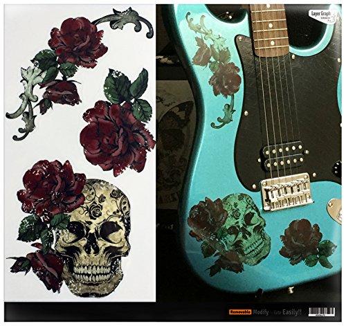 Calcomanía transparente para guitarra, bajo, calavera gótica y rosas