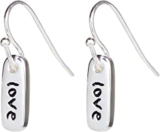 Erica Anenberg Silver Love Dangle Charm Earrings