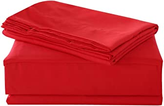 COTTONWALAS #1 Lowest Prices - Mega Sale Hotel Luxury Solid Pattern Heavy Egyptian Cotton 1500 Thread Count 4 Piece Sheet Set Fits Extra Large 18-22'' Deep Pocket (King, Red)
