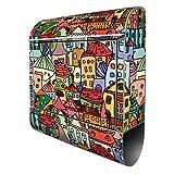 Banjado Design Briefkasten mit Motiv Funky Town | Stahl pulverbeschichtet mit Zeitungsrolle | Größe 39x47x14cm, 2 Schlüssel, A4 Einwurf, inkl. Montagematerial