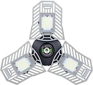 LED Garage Lights, E27 Deformable LED Garage Ceiling Lights 6000 Lumens, 60W CRI 80 Led Shop Lights for Garage, Garage Lig...
