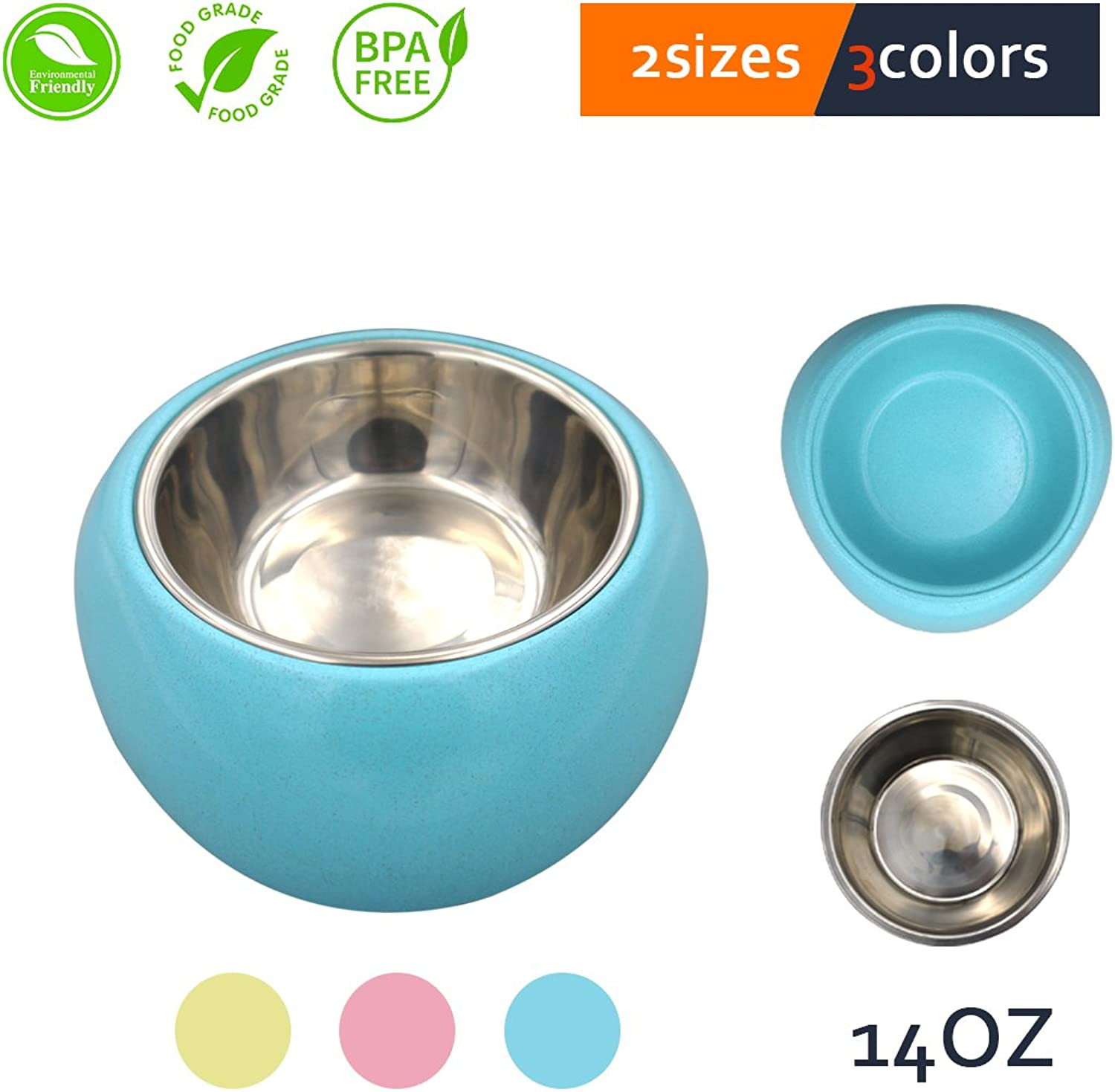 Mainstreet Dog Cat Bowl 14OZ EcoFriendly Removable Stainless Steel Food Water Station Anti Slip Dog Feeder Treats Snacks Holder Macaron color Small Pet