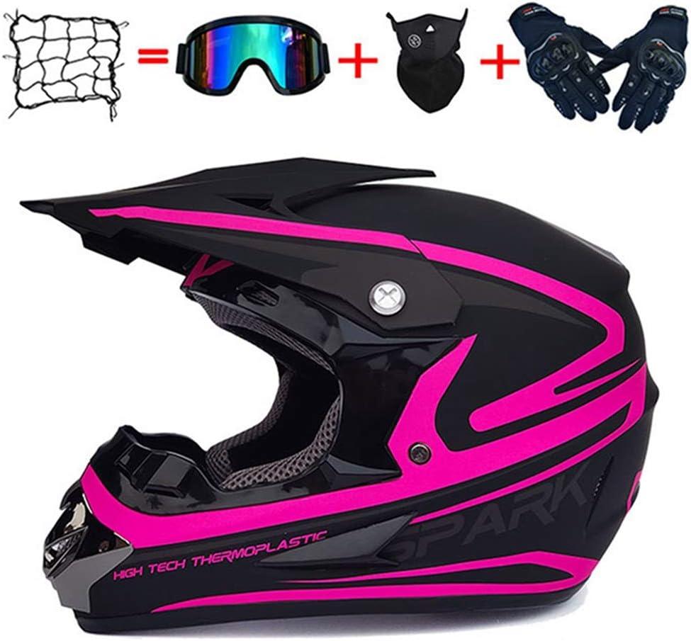 Ensemble de casques de motocross avec lunettes casque tout-terrain moto filet de casque quad gants BMX VTT casque tout-terrain Endur DH masques