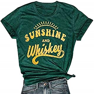 Women Funny Sunshine and Whiskey Short T-Shirt Casual Print Drinking Beach Tees Top