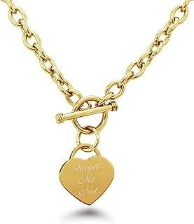 Forget Me Not (No Me Olvides) Chapado en Oro Acero inoxidable Corazón Grabado Encanto Pulsera y Collar