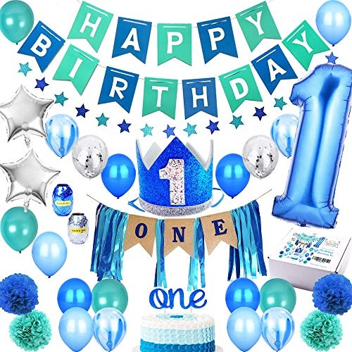 1st Birthday Boy Decorations PREMIUM Party Supplies Set | Royal High Chair Decoration, First Baby Boys Prince Blue Crown Hat, Happy Bday Banner, ONE Cake Topper, Number 1 Year Balloons, Boss, Monster