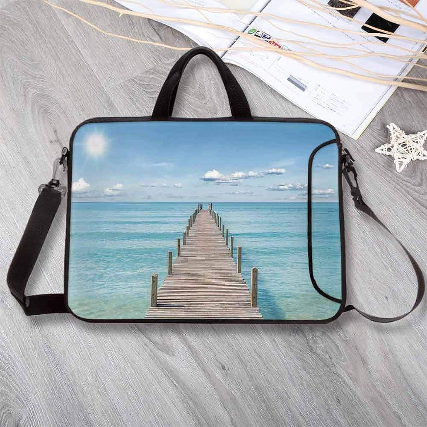 "Art Custom Neoprene Laptop Bag,Wood Pier Deck in Asian River with Sky and Sun Summer Travel Theme Art Print Laptop Bag for Men Women Students,15.4""L x 11""W x 0.8""H"