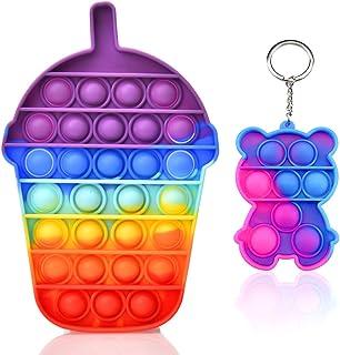 Push Pop Bubble Fidget Sensory Toy Boys Girls Kids Stress Anxiety Relief Animal Keychain Toys for Autism ADHD Toddlers Adu...
