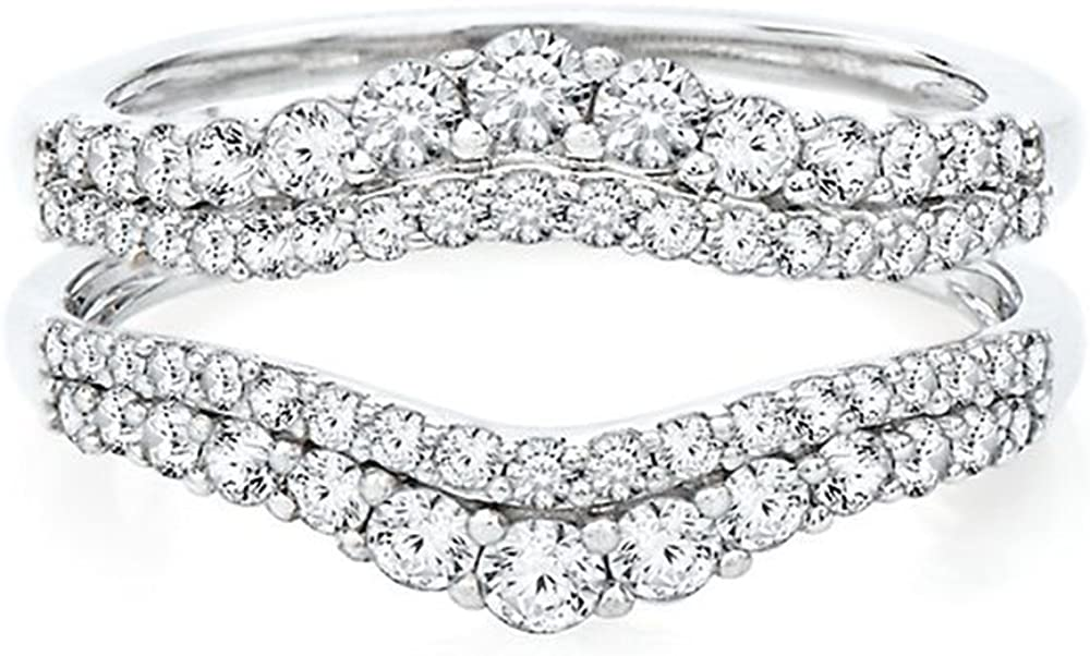Ranking TOP19 1 ct tw Round-Cut Simulated Solitaire Enhancer Al sold out. Diamond Guar Ring