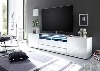 PEGANE Meuble TV Coloris laqué Blanc Brillant - L203 x H49 x P43 cm