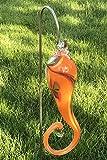 Edles Hänge-Objekt orange aus Glas mit Stab Gartenstecker handgefertigte Gartenstele