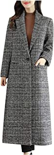 Succper Women's Winter Coats Double Breasted Long Plaid Wool Blend Pea Coat Outerwear