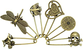 LEFV™ 6 Pcs Alloy Safety Pins Antique Brooches for Blankets Skirts Kilts Crafts Scarfs Hats Cardigans Sweaters