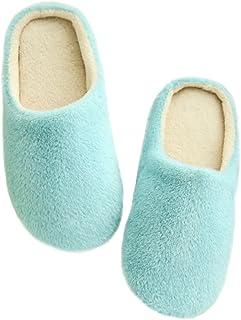 LUOEM Pantofole a Ciabatte per Inverno morbide ed Antiscivolo Unisex in Azzurro
