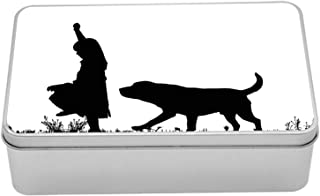Ambesonne Labrador Metal Box, Silhouette of Little Girl with Dog Walking in The Park Pet Care Love Theme, Multi-Purpose Rectangular Tin Box Container with Lid, 7.2
