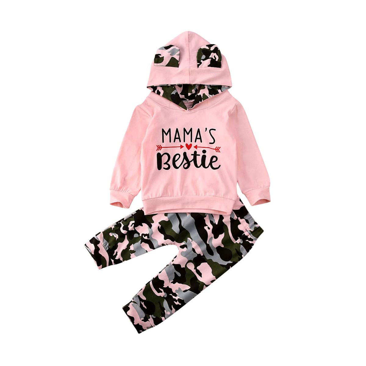 2PCS Toddler Kids Baby Girl Tops+Pants Clothes Camouflage Outfits Set Tracksuit