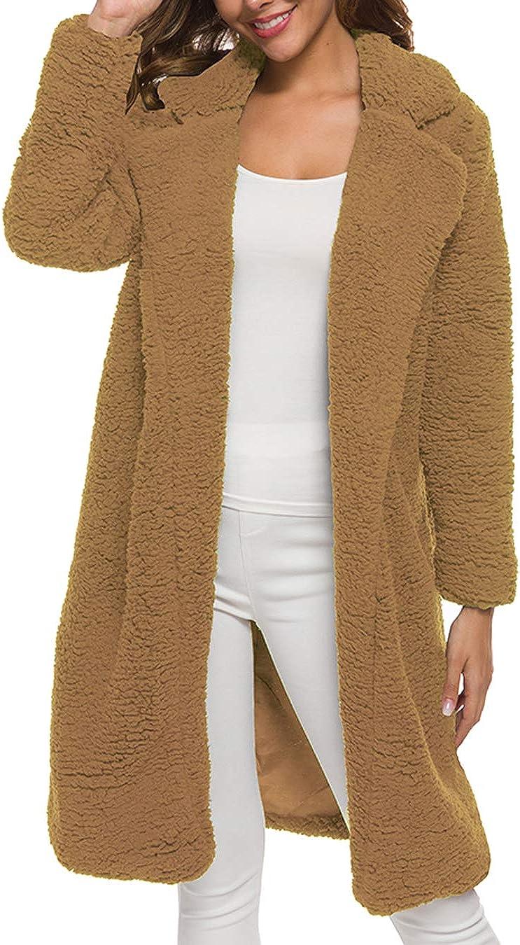 Dantees Women Faux Fur Coat Casual Sherpa Solid Winter Fluffy Outwear Fuzzy Jacket