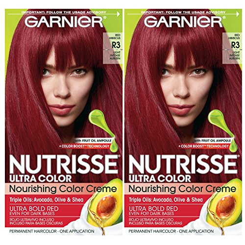 Garnier Nutrisse Ultra Color Nourishing Permanent Hair Color Cream, R3 Light Intense Auburn (Pack of 2) Red Hair Dye