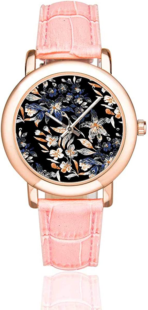 INTERESTPRINT Women's Casual Pink Leather At the price Art Easy-to-use Flor Watches Strap