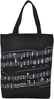 PUNK Music High Note Treble Clef Pattern Canvas Handbag Shopper Grocery Bags Kids Students Reusable Tote Carrying Books Snacks Food Lunch Dinner Box (Black-A)