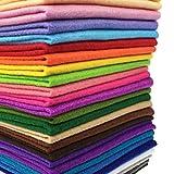 28cuadrados de fieltro suave no tejido, mezcla de colores, con un grosor de 1,4mm, ideales para patchwork, costura y manualidades