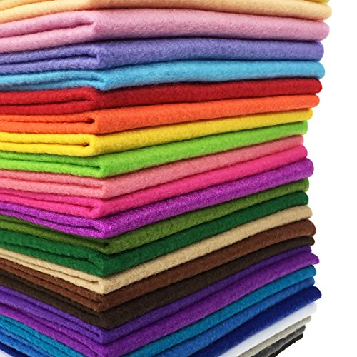flic-flac 28pcs 12 x 8 inches (30cmx20cm) 1.4mm Thick Soft Felt Fabric Sheet Assorted Color Felt Pack DIY Craft...