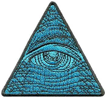 Eye of Providence Illuminati Dollar Bill Third Eye Blue Pyramid Triangle Masonic DIY Embroidered Applique Iron-on Patch G-174